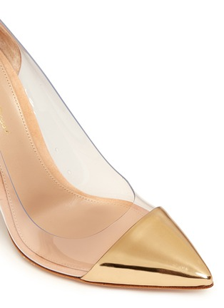 Detail View - Click To Enlarge - Gianvito Rossi - 'Plexi' clear PVC leather suede pumps