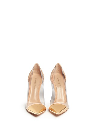Figure View - Click To Enlarge - Gianvito Rossi - 'Plexi' clear PVC leather suede pumps