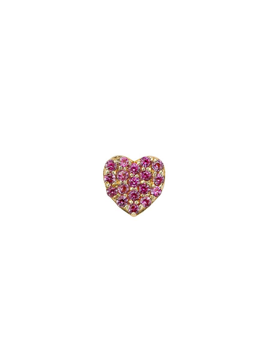 18k yellow gold sapphire heart charm