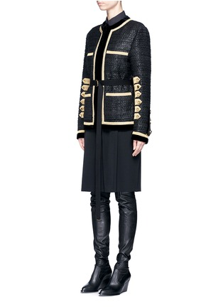 Front View - Click To Enlarge - GIVENCHY - Velvet trim six-band sleeve embroidered tweed jacket