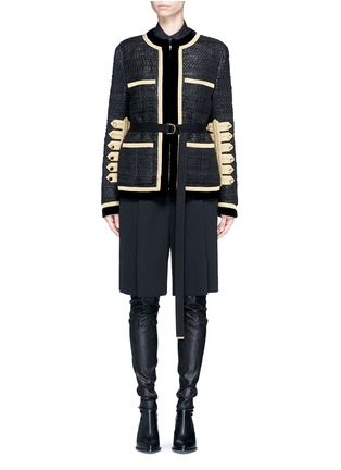 Main View - Click To Enlarge - GIVENCHY - Velvet trim six-band sleeve embroidered tweed jacket