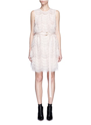 Main View - Click To Enlarge - Givenchy - Layered lace belted sleeveless dress