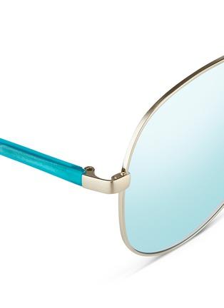 Detail View - Click To Enlarge - MATTHEW WILLIAMSON - Acetate temple aviator mirror sunglasses