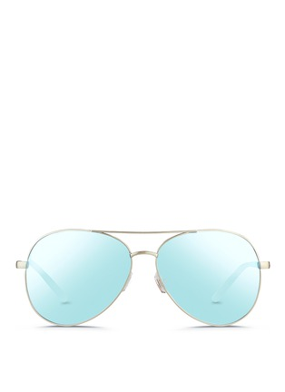 Main View - Click To Enlarge - MATTHEW WILLIAMSON - Acetate temple aviator mirror sunglasses