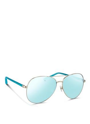 Figure View - Click To Enlarge - MATTHEW WILLIAMSON - Acetate temple aviator mirror sunglasses