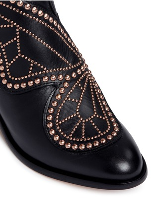 Detail View - Click To Enlarge - Sophia Webster - 'Karina' butterfly stud embellished leather boots
