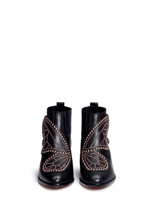 Front View - Click To Enlarge - Sophia Webster - 'Karina' butterfly stud embellished leather boots