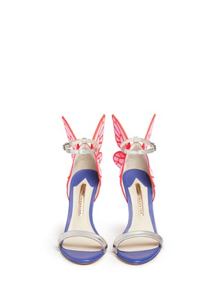 Front View - Click To Enlarge - Sophia Webster - 'Chiara' butterfly appliqué metallic leather sandals