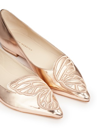Detail View - Click To Enlarge - Sophia Webster - 'Bibi' embroidered butterfly wing mirror leather flats