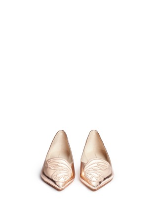 Front View - Click To Enlarge - Sophia Webster - 'Bibi' embroidered butterfly wing mirror leather flats