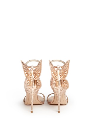 Back View - Click To Enlarge - Sophia Webster - 'Chiara' butterfly embroidery metallic leather sandals