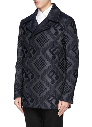 Front View - Click To Enlarge - PAUL SMITH - Check and music note jacquard peacoat