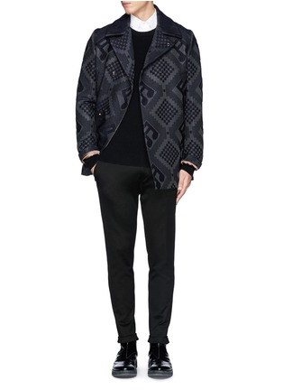 Figure View - Click To Enlarge - PAUL SMITH - Check and music note jacquard peacoat