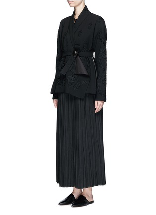 Figure View - Click To Enlarge - Ms MIN - Pleated wool blend skirt