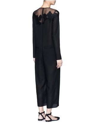 Back View - Click To Enlarge - Ms MIN - Mesh shoulder floral embroidered oversized jumpsuit