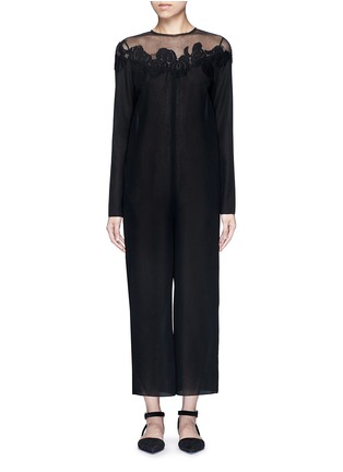 Main View - Click To Enlarge - Ms MIN - Mesh shoulder floral embroidered oversized jumpsuit