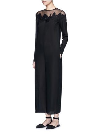 Figure View - Click To Enlarge - Ms MIN - Mesh shoulder floral embroidered oversized jumpsuit