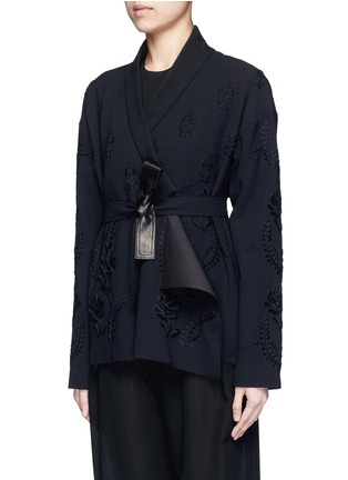 Front View - Click To Enlarge - Ms MIN - Floral embroidery faux leather belt cardigan