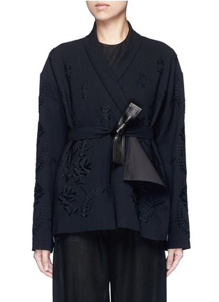 Main View - Click To Enlarge - Ms MIN - Floral embroidery faux leather belt cardigan