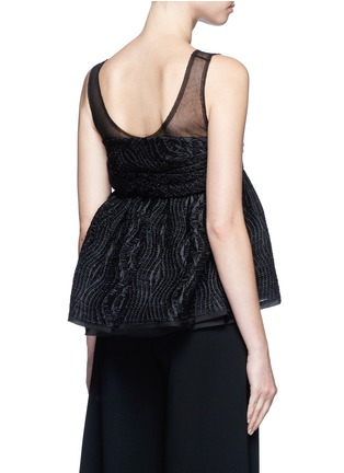 Back View - Click To Enlarge - Ms MIN - Tulle panel silk blend jacquard top