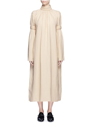 Main View - Click To Enlarge - Ms MIN - Piped panel linen blend twill dress