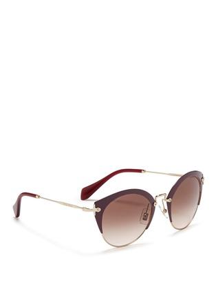 Figure View - Click To Enlarge - miu miu - 'Noir' coated brow bar cat eye gradient sunglasses