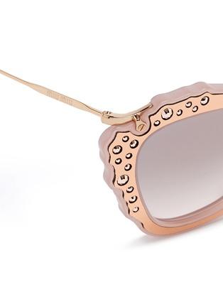 Detail View - Click To Enlarge - miu miu - 'Noir' strass leather inlay acetate metal sunglasses