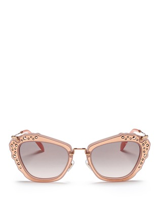 Main View - Click To Enlarge - miu miu - 'Noir' strass leather inlay acetate metal sunglasses