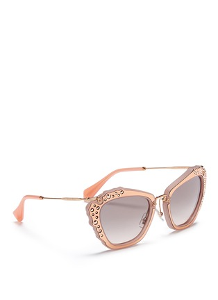 Figure View - Click To Enlarge - miu miu - 'Noir' strass leather inlay acetate metal sunglasses