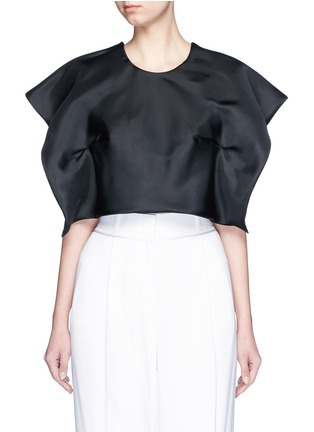 Main View - Click To Enlarge - DELPOZO - Foldover square sleeve silk gazar cropped top