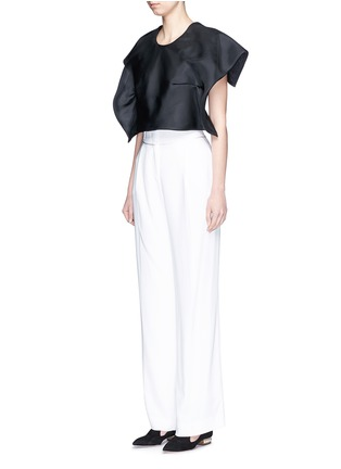 Figure View - Click To Enlarge - DELPOZO - Foldover square sleeve silk gazar cropped top