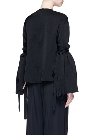 Back View - Click To Enlarge - Ellery - 'Mountainous' cone sleeve crepe cropped top