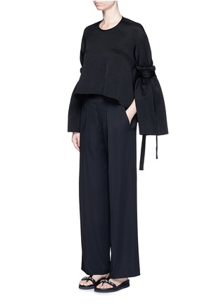 Figure View - Click To Enlarge - Ellery - 'Mountainous' cone sleeve crepe cropped top