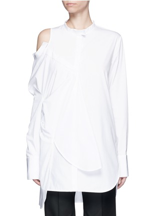 Main View - Click To Enlarge - Ellery - 'Castelli' asymmetric cold shoulder deconstructed shirt