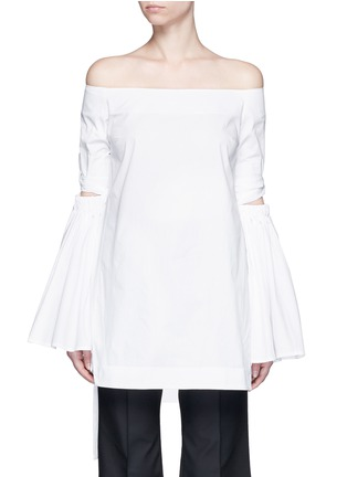 Main View - Click To Enlarge - Ellery - 'Cyril' cutout cone sleeve off-shoulder cotton poplin top