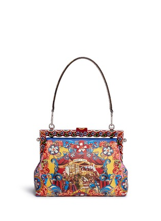 Detail View - Click To Enlarge - - - 'Vanda' Carretto Siciliano print leather clutch