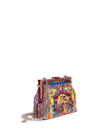 Figure View - Click To Enlarge - - - 'Vanda' Carretto Siciliano print leather clutch