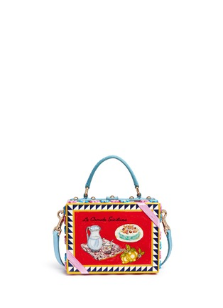 Back View - Click To Enlarge - Dolce & Gabbana - 'Dolce Box' python trim floral relief bag