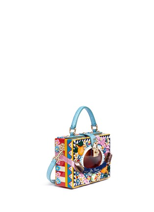 Figure View - Click To Enlarge - Dolce & Gabbana - 'Dolce Box' python trim floral relief bag