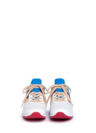 Front View - Click To Enlarge - Dolce & Gabbana - 'Nigeria' lace leather combo sneakers