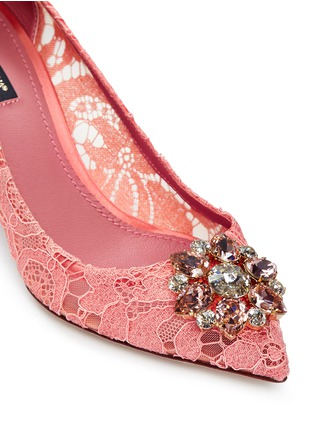 Detail View - Click To Enlarge - - - 'Bellucci' jewel brooch Taormina lace pumps