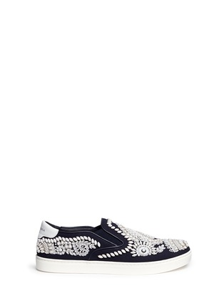 Main View - Click To Enlarge - Dolce & Gabbana - Bead embroidery denim skate slip-ons