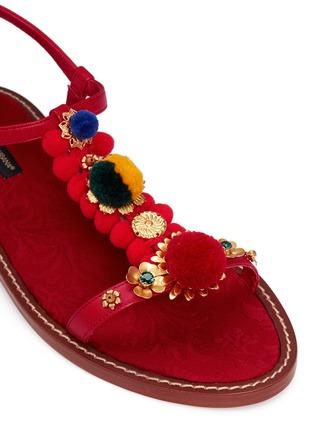 Detail View - Click To Enlarge - - - Pompom floral appliqué T-strap leather sandals