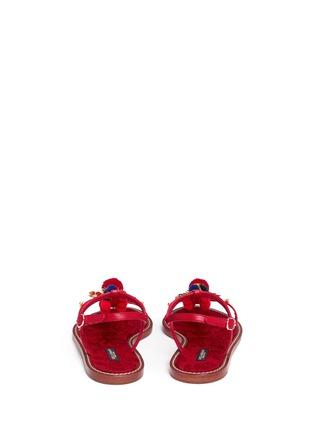Back View - Click To Enlarge - - - Pompom floral appliqué T-strap leather sandals