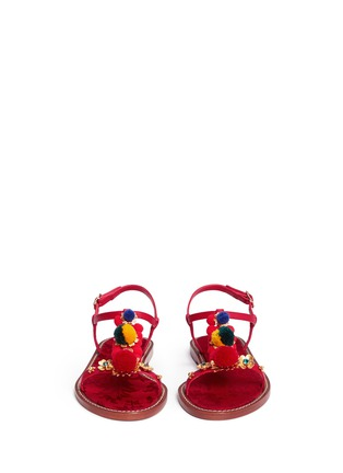 Front View - Click To Enlarge - Dolce & Gabbana - Pompom floral appliqué T-strap leather sandals