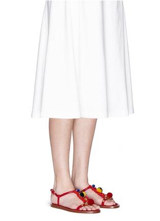 Figure View - Click To Enlarge - - - Pompom floral appliqué T-strap leather sandals