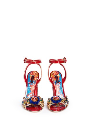 Figure View - Click To Enlarge - Dolce & Gabbana - Embellished braided straw patent leather sandals