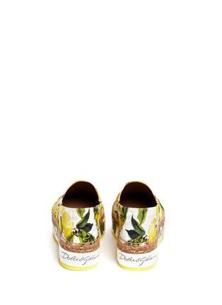Back View - Click To Enlarge - Dolce & Gabbana - Lemon print brocade flatform espadrille slip-ons