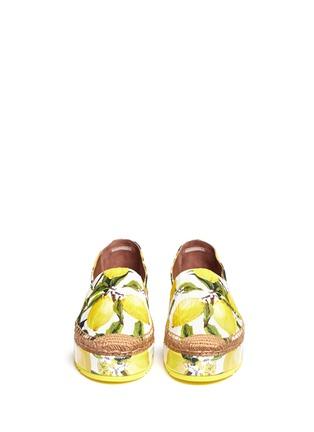 Front View - Click To Enlarge - Dolce & Gabbana - Lemon print brocade flatform espadrille slip-ons