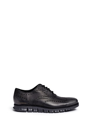 Main View - Click To Enlarge - Cole Haan - 'ZeroGrand' wingtip brogue saffiano leather Oxfords